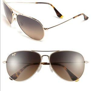 NWOT Maui Jim Mavericks Aviator Sunglasses Gold